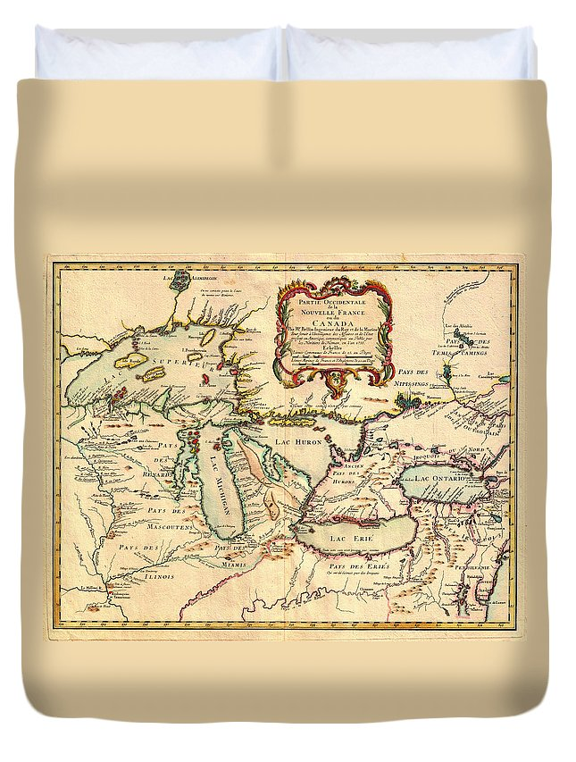 Map Duvet Cover featuring the drawing Antique French Map Of The Great Lakes 1755 by Mountain Dreams