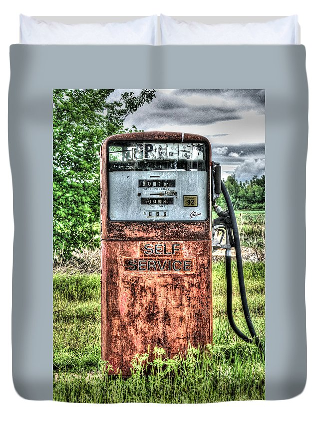 Antique Duvet Cover featuring the photograph Antique Gas Pump 1 by Douglas Barnett