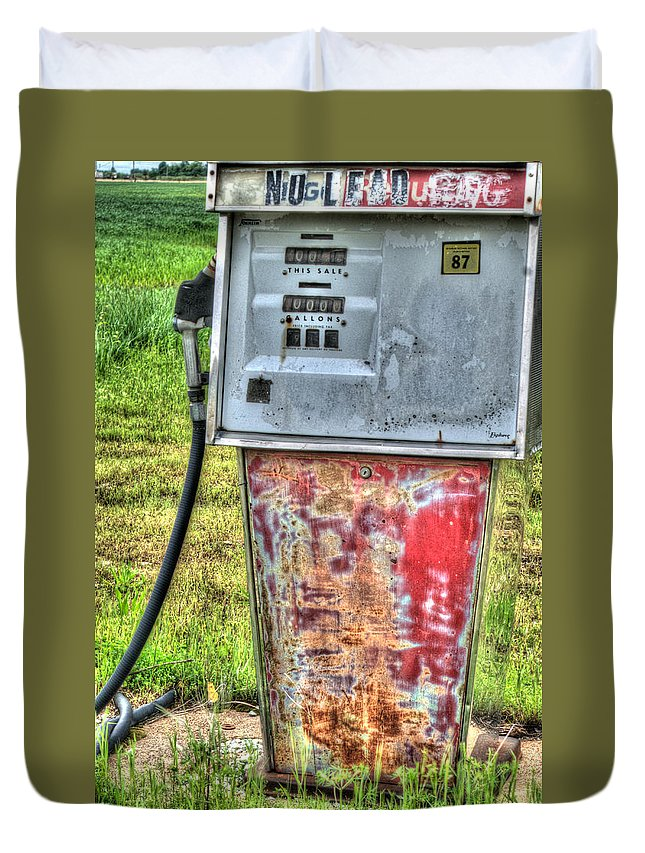 Antique Duvet Cover featuring the photograph Antique Gas Pump 3 by Douglas Barnett