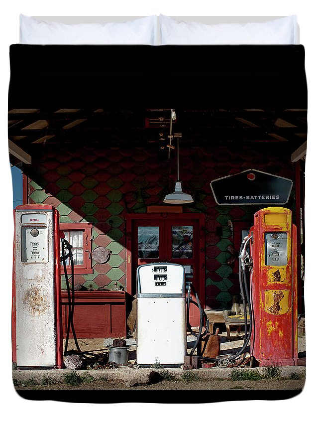 1950-1959 Duvet Cover featuring the photograph Antique Gas Station by Sunara