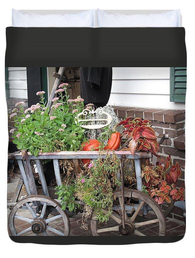 Antique Duvet Cover featuring the photograph Antique Goat Cart by Barbara McDevitt