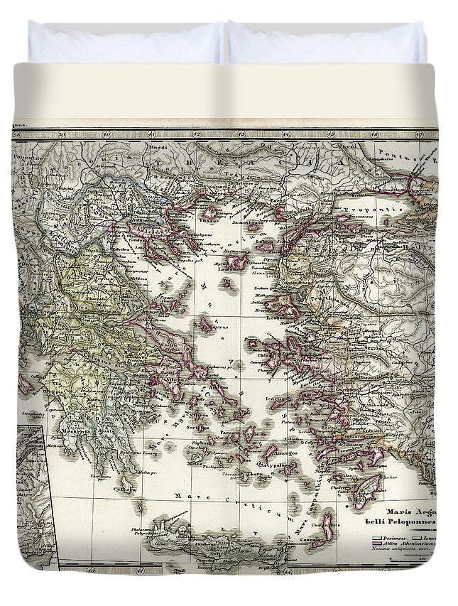 Ancient History Duvet Cover featuring the digital art Antique Map Of Ancient Greece by Duncan1890