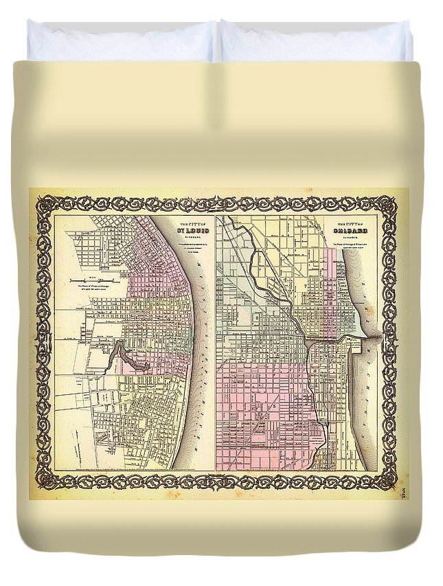 Map Duvet Cover featuring the drawing Antique Map Of Chicago And St Louis 1855 by Mountain Dreams