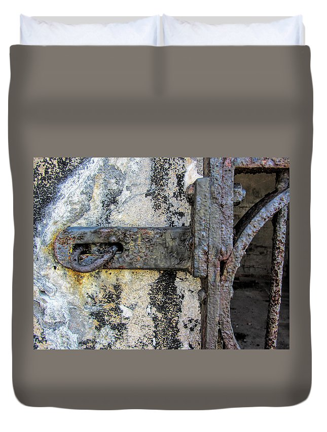 Grunge Duvet Cover featuring the photograph Antique Textured Metalwork Gate by Kathy Clark