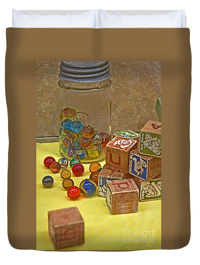 Aged Duvet Cover featuring the photograph Antique Toys by Valerie Garner