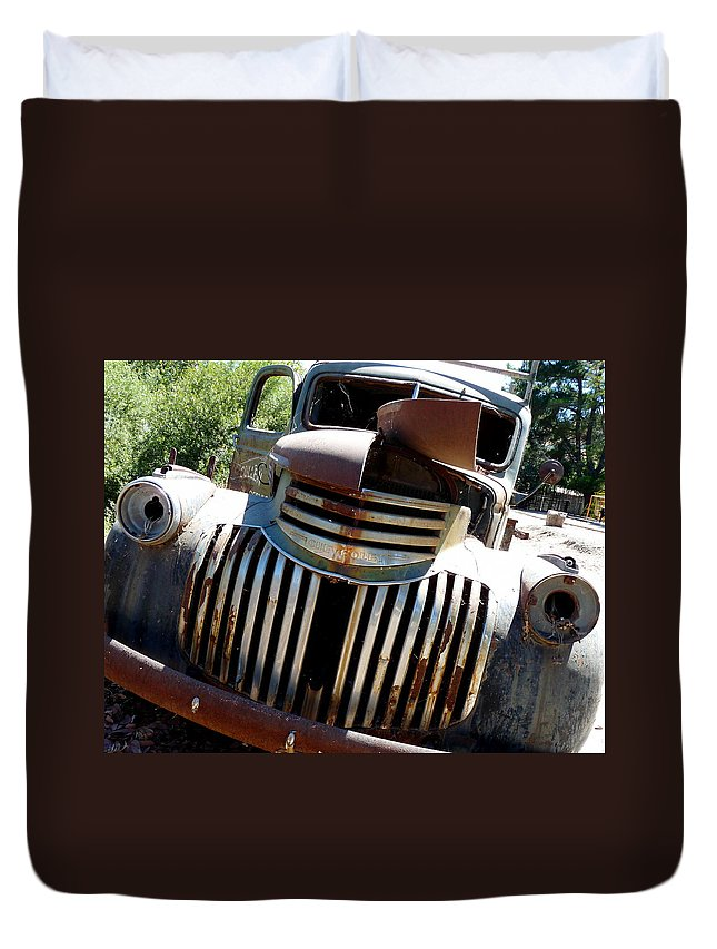 Dodge Truck Duvet Cover featuring the photograph Antique Chevy Truck by Jeff Lowe