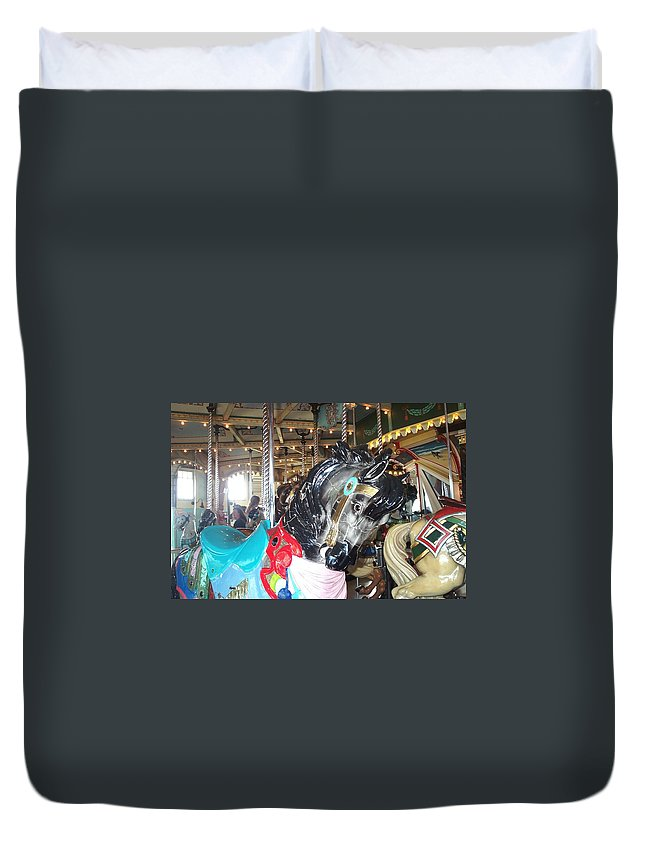 Carousel Restoration Duvet Cover featuring the photograph Antique Waiting by Barbara McDevitt