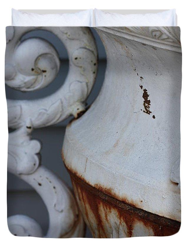 Arelys Jimenez Antique Print Duvet Cover featuring the photograph Antique White by Arelys Jimenez