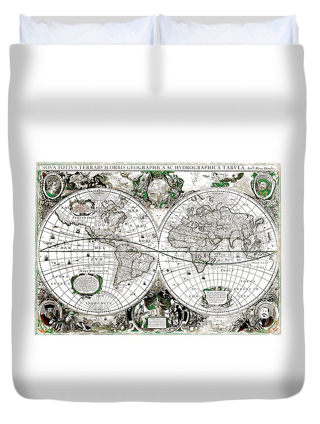 1630 Antique World Map Duvet Cover featuring the mixed media Antique World Map Poster by Dan Sproul