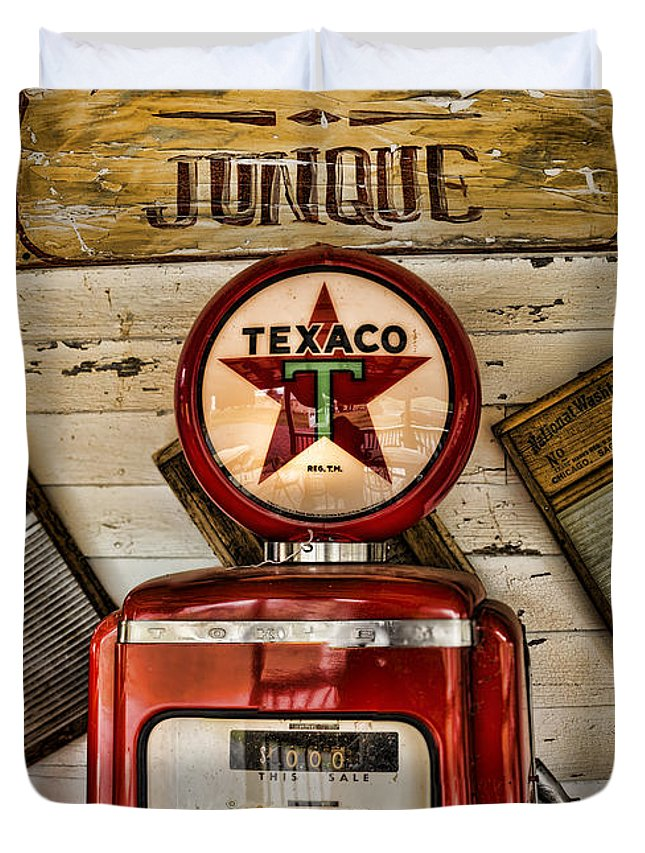 Gas Pump Duvet Cover featuring the photograph Antiques And Junque by Heather Applegate