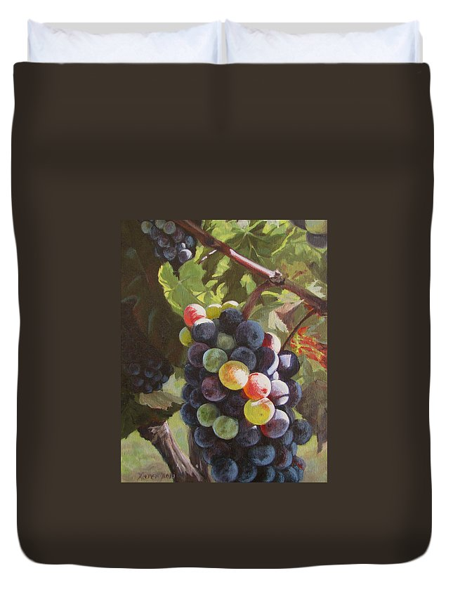 Vines Duvet Cover featuring the painting Any Day Now by Karen Ilari