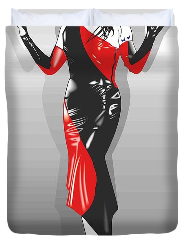 Latex Fetish Glamour Model Anyssa Dress High Heels Platform Pin Up Domination Pvc Submission Black Red Duvet Cover featuring the painting Anyssa In Latex by Peter Bratt