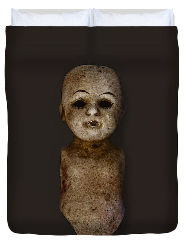 Antique; Broken; Childhood; Cracked; Dirty; Doll; Eerie; Heirloom; Nostalgia; Old; Retro; Ruined; Scary; Toy; Vintage; Weird; Worn; Dark; Creepy; Porcelain; Part; Body; Torso; Nude; Naked; Eyes; Black; Grunge; Head; Possessed Duvet Cover featuring the photograph Apart by Margie Hurwich