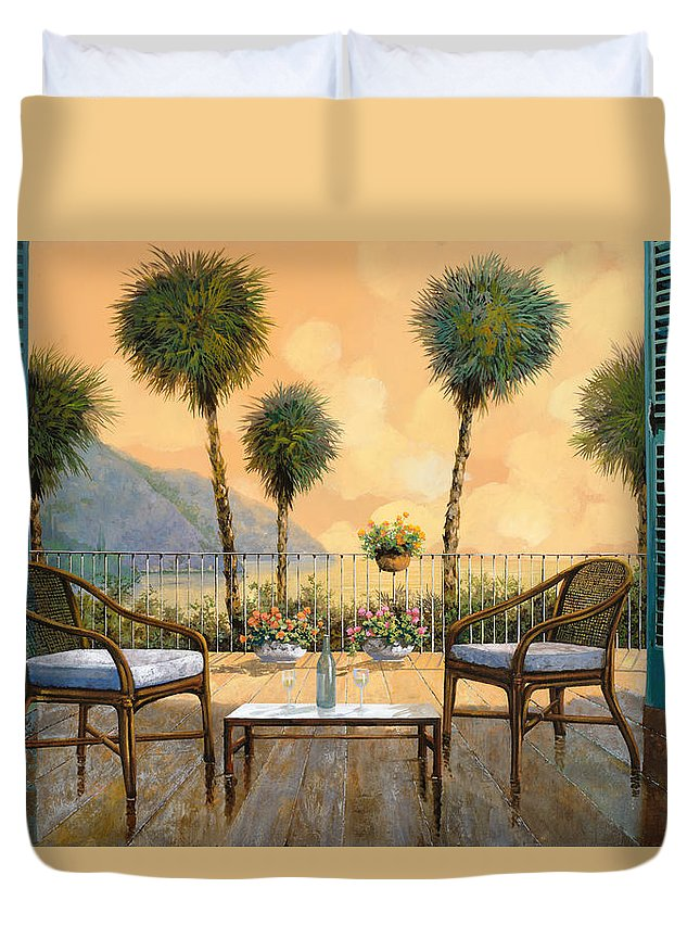 Aperitif Duvet Cover featuring the painting Aperitivo Al Tramonto by Guido Borelli