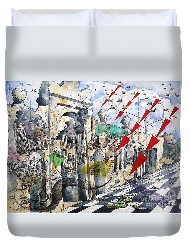 Abstract Duvet Cover featuring the painting Apocalypse In Paradise 2 by Jeffrey Williams