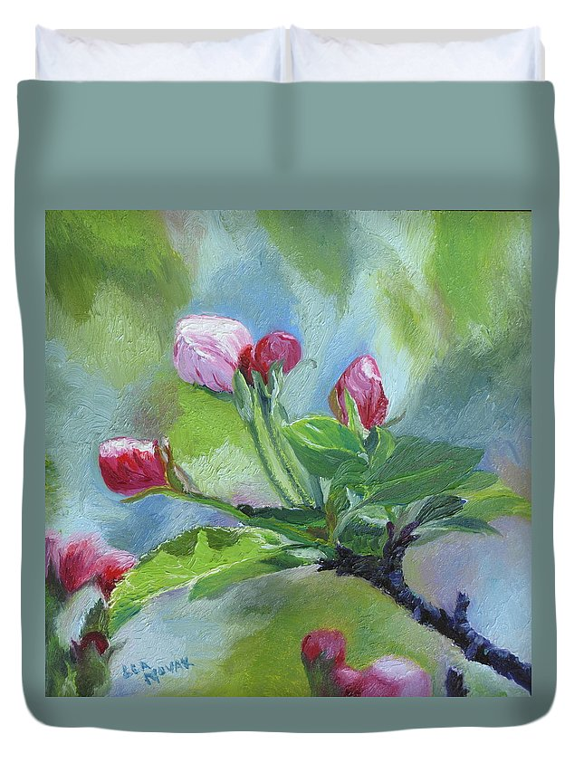 Flowers Duvet Cover featuring the painting Apple Blossom Buds by Lea Novak