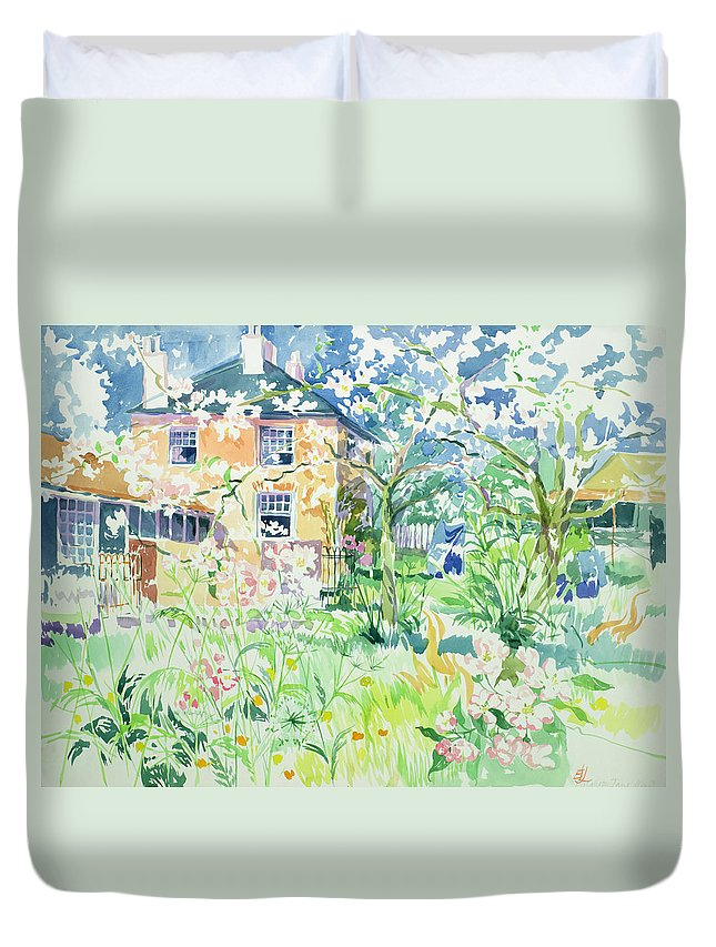House Duvet Cover featuring the painting Apple Blossom Farm by Elizabeth Jane Lloyd