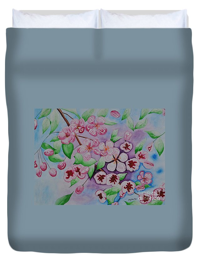 Pink Duvet Cover featuring the painting Apple Blossoms by Sally Rice