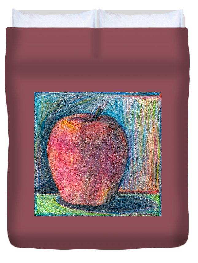 Kendall Kessler Duvet Cover featuring the drawing Apple by Kendall Kessler