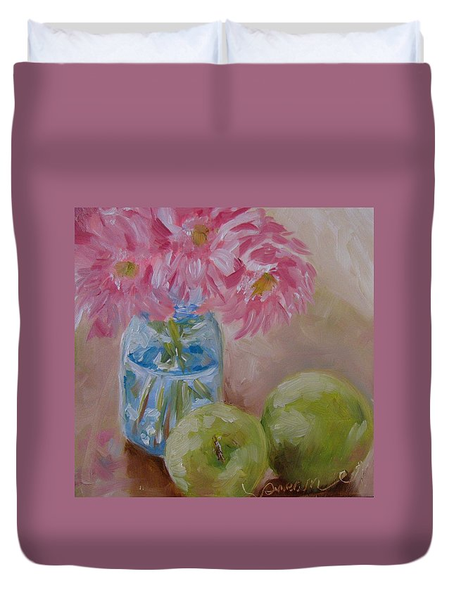 Apple Duvet Cover featuring the painting Apple Still Life by Susan Elizabeth Jones
