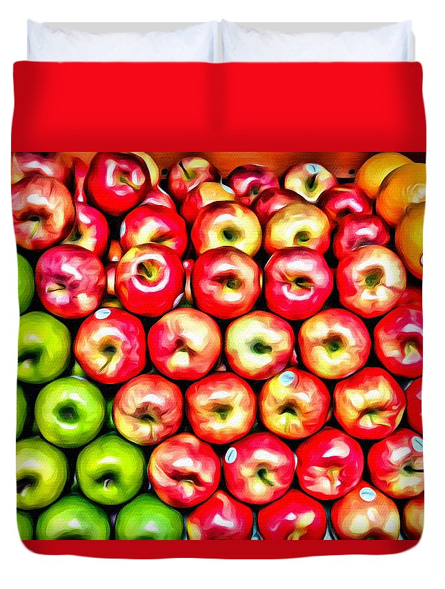 Apples Duvet Cover featuring the photograph Apples And Oranges by Alice Gipson