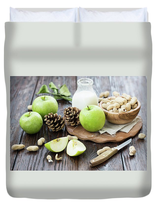 Breakfast Duvet Cover featuring the photograph Apples And Peanuts For Breakfast by Julia Khusainova