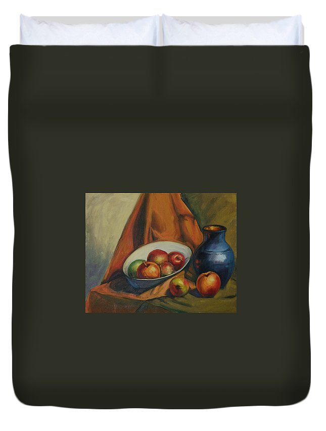 Konnie Duvet Cover featuring the painting Apples Apples by Konnie Kim