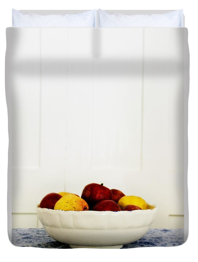 Fruit; Bowl; Still Life; Table; Table Cloth; Bowl Of Fruit; Fresh; Food; Kitchen; Old; Apples; Red; Yellow; Inside; Indoors; White; Blue; Minimal; Minimalism; Wall; Wood Duvet Cover featuring the photograph Apples by Margie Hurwich