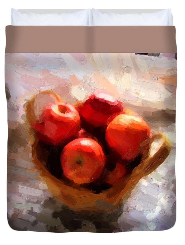 Apples Duvet Cover featuring the photograph Apples On The Table by Shannon Story