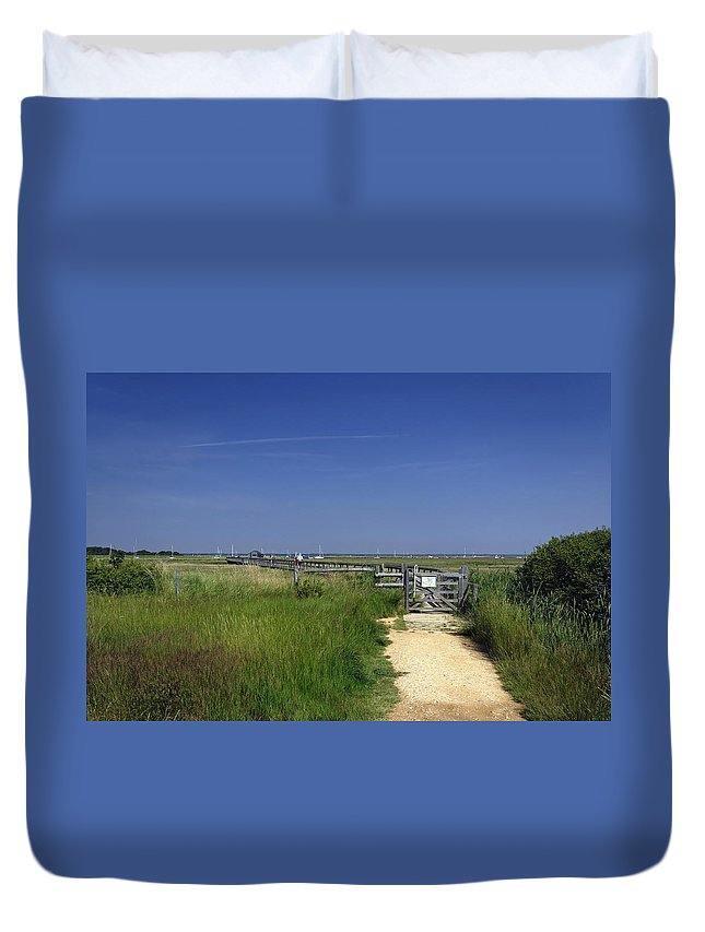 Britain Duvet Cover featuring the photograph Approach To The Wooden Bridge - Newtown by Rod Johnson