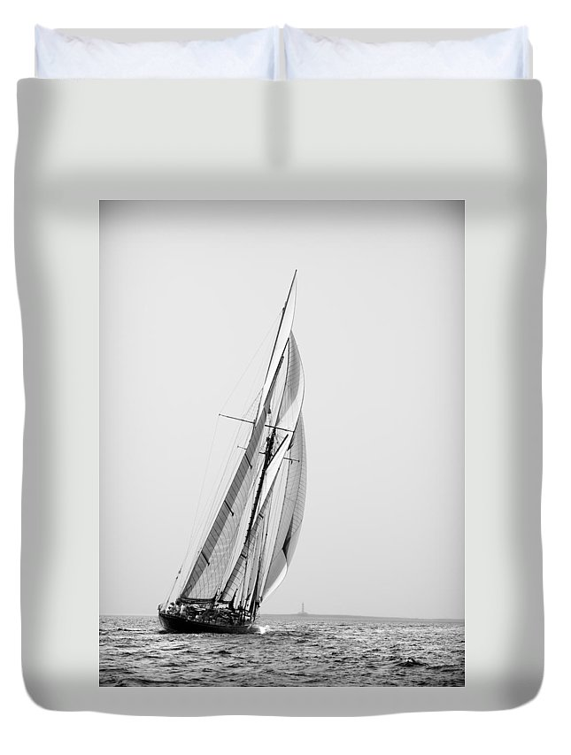 Outdoor Duvet Cover featuring the photograph A Tall Ship In Mediterranean Water Approaching To Lighthouse Of Isla Del Aire - Menorca by Pedro Cardona Llambias