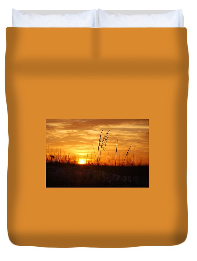 Palm Duvet Cover featuring the digital art April Morning Grasses by Michael Thomas