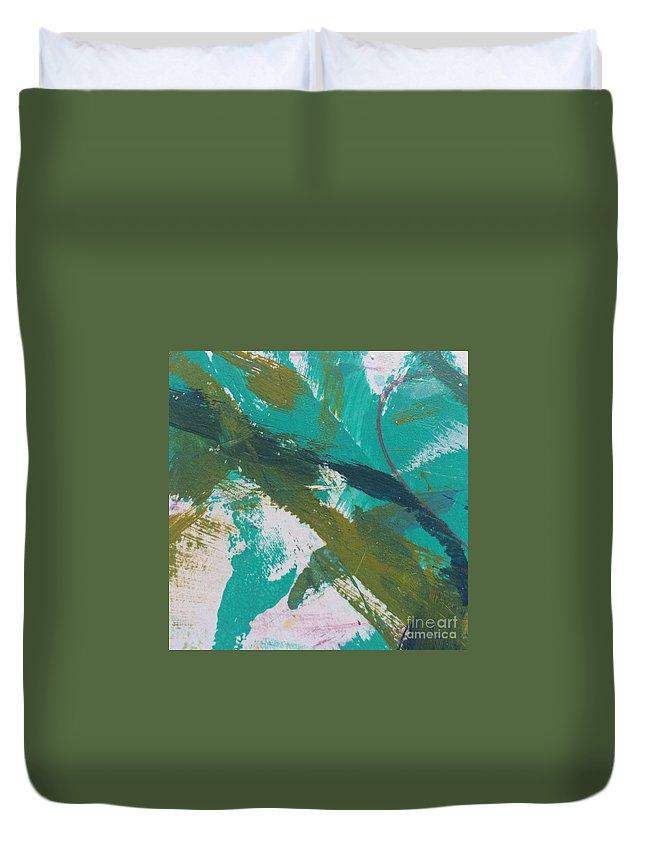 Aqua Duvet Cover featuring the painting Aqua And Green by Robin Maria Pedrero