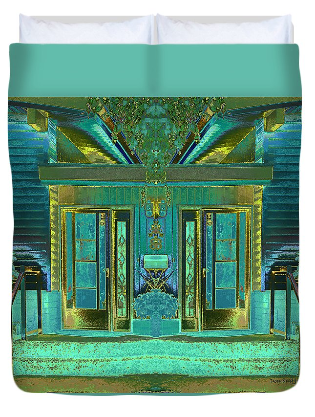 Abstract House Duvet Cover featuring the digital art Aqua House 2 by Don and Judi Hall