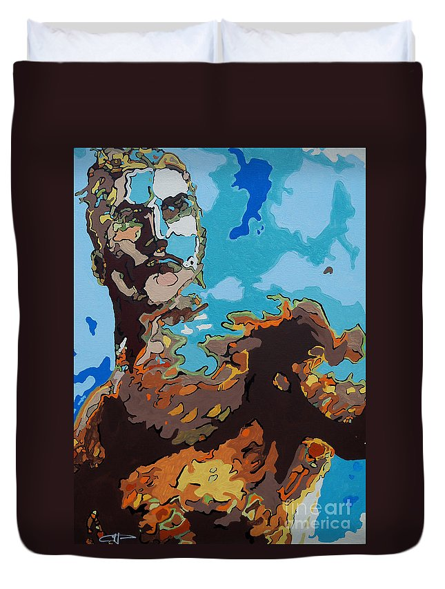 Aquaman Duvet Cover featuring the painting Aquaman - Reflections by Kelly Hartman