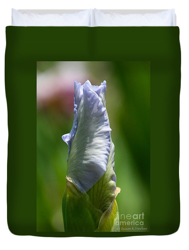 Flower Duvet Cover featuring the photograph Aquamarine Crystal by Susan Herber