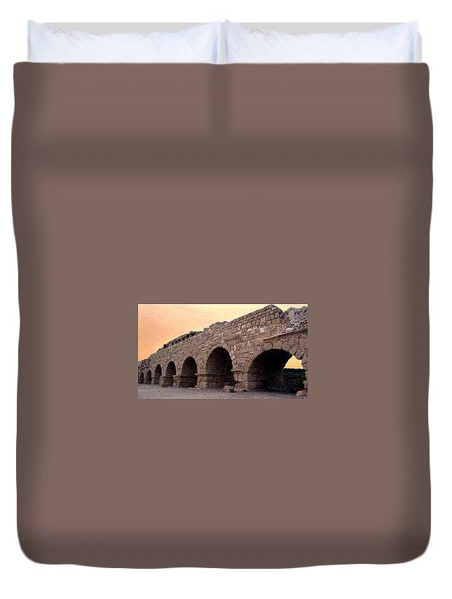 Aqueduct Duvet Cover featuring the photograph Aqueduct At Caesarea  by David T Wilkinson