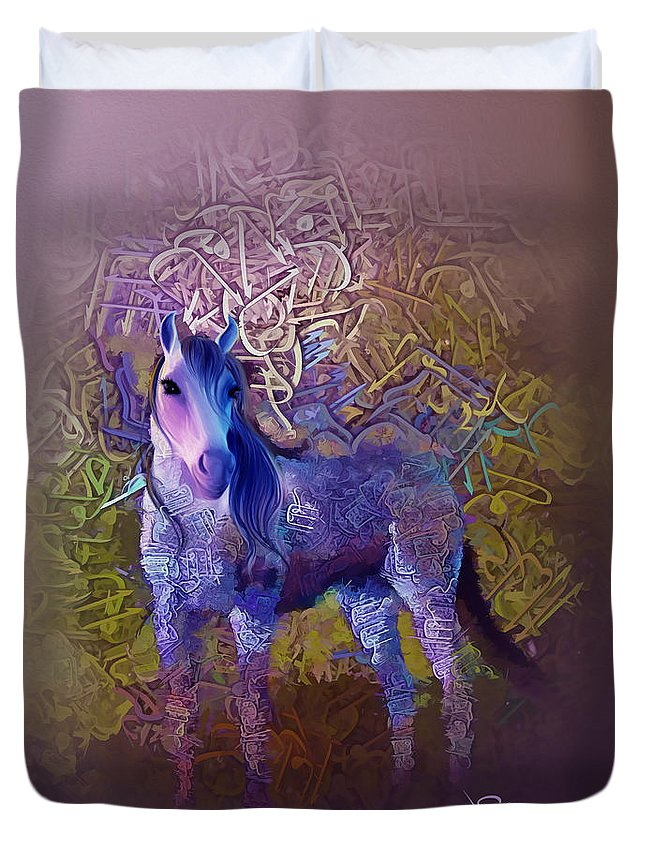 Duvet Cover featuring the painting Arabian Horse 2 by Imad Abu shtayyah