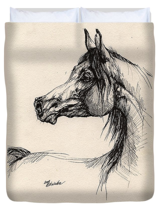 Horse Drawing Duvet Cover featuring the drawing Arabian Horse Drawing 26 by Angel Ciesniarska