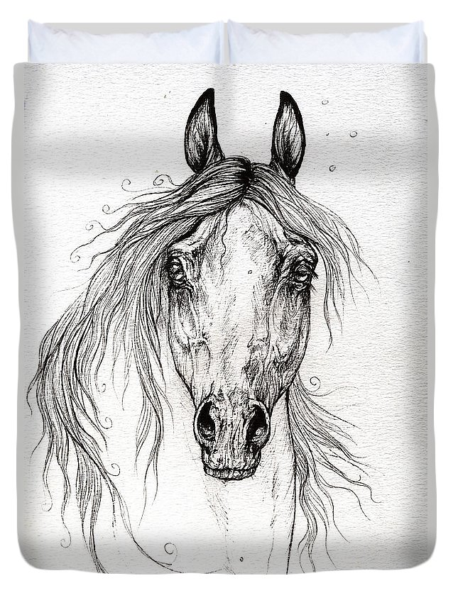 Horse Duvet Cover featuring the drawing Arabian Horse Drawing 55 by Angel Ciesniarska