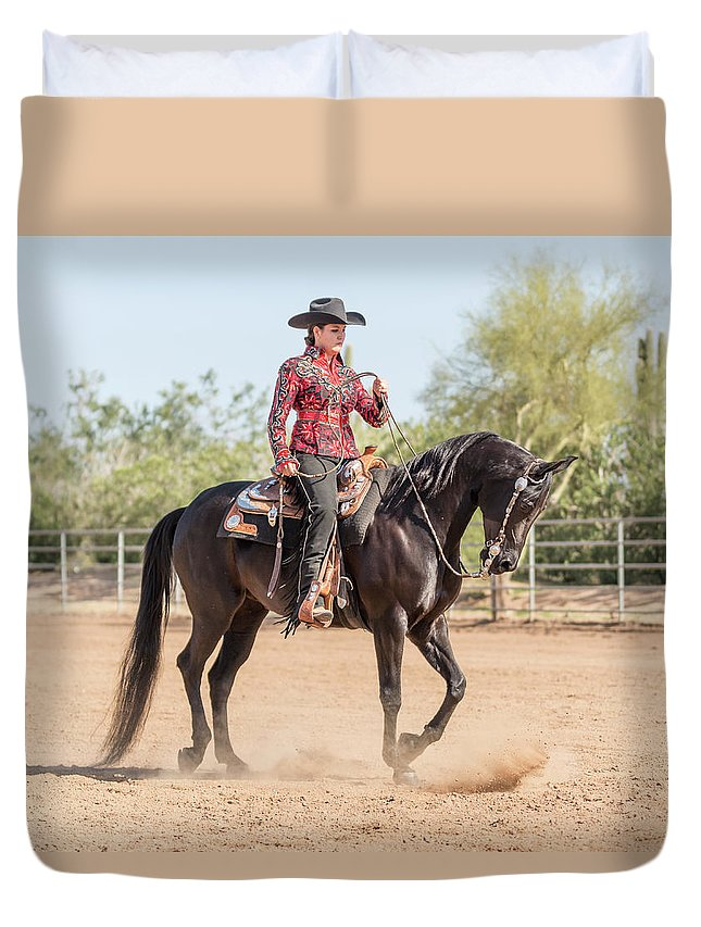 Horse Duvet Cover featuring the photograph Arabian Horse With Rider Dressed For by Lokibaho