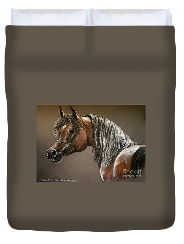 Arabian Horse Duvet Cover featuring the drawing Arabian Mare by Angel Ciesniarska