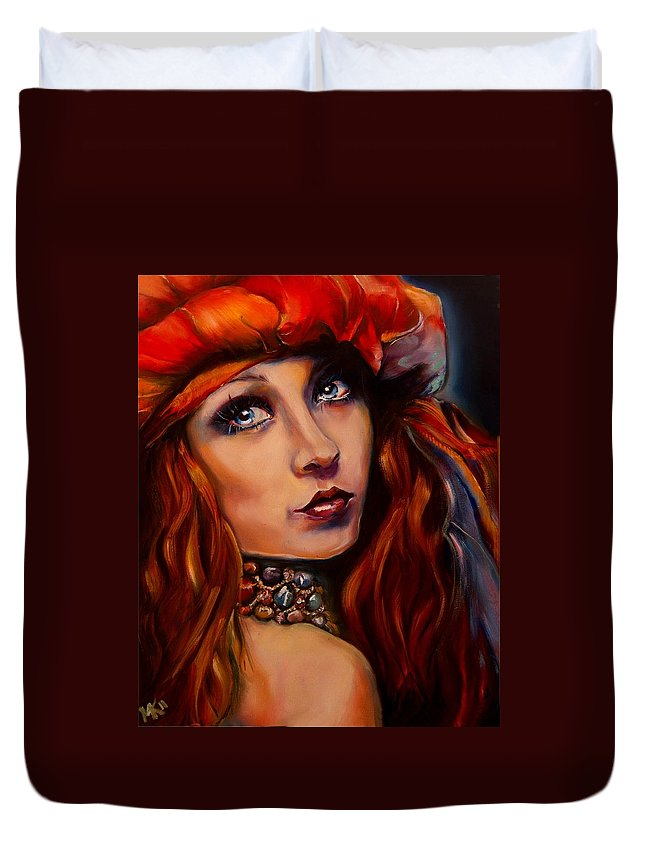 Girl Duvet Cover featuring the painting Arabian Night by Em Kotoul