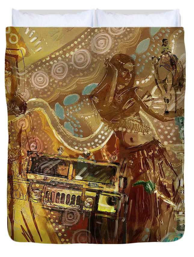 Art Poster Duvet Cover featuring the painting Arabian Symbolism by Corporate Art Task Force