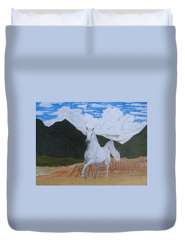 Horse Duvet Cover featuring the drawing Araboam Stallion 3 by Stephen W Keller