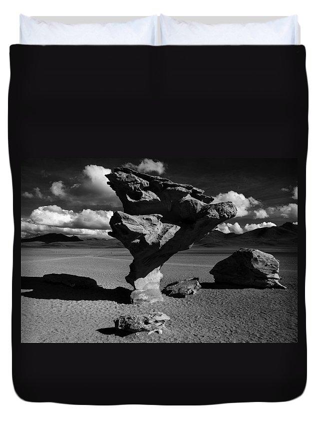 Árbol De Piedra Duvet Cover featuring the photograph Arbol De Piedra Black And White by For Ninety One Days