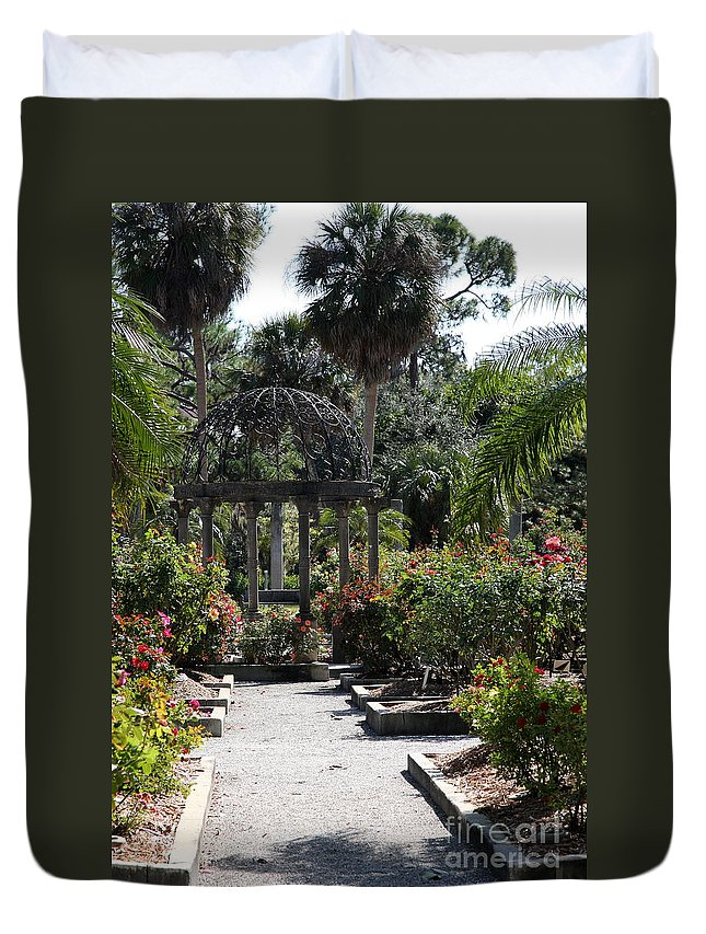 Arbor Duvet Cover featuring the photograph Arbor In The Rose Garden by Christiane Schulze Art And Photography
