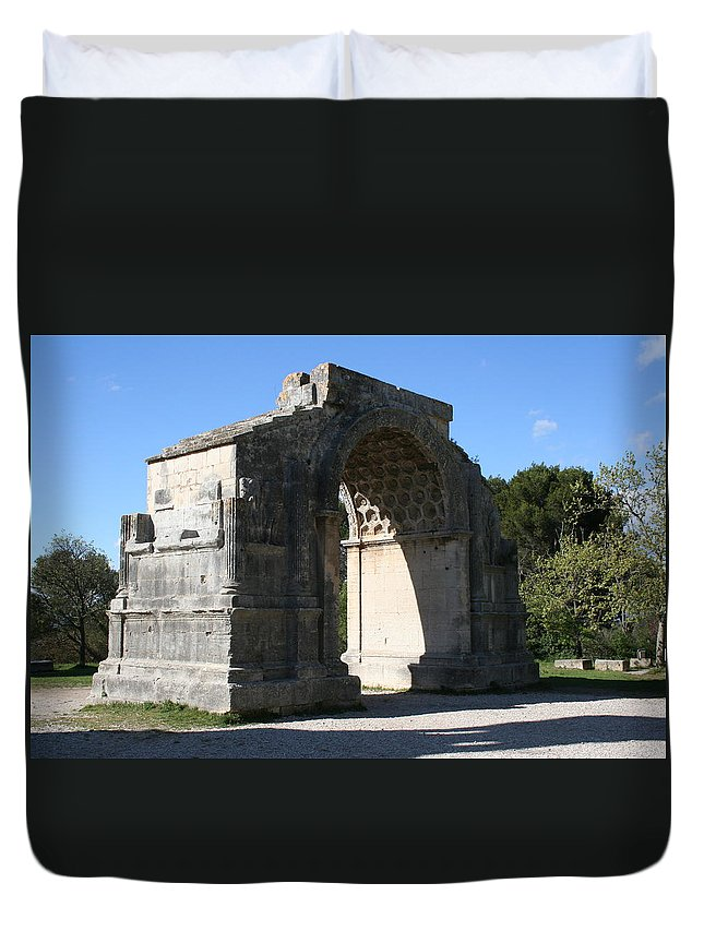 Triumphal Arch Duvet Cover featuring the photograph Arc De Thriumphe - St. Remy by Christiane Schulze Art And Photography