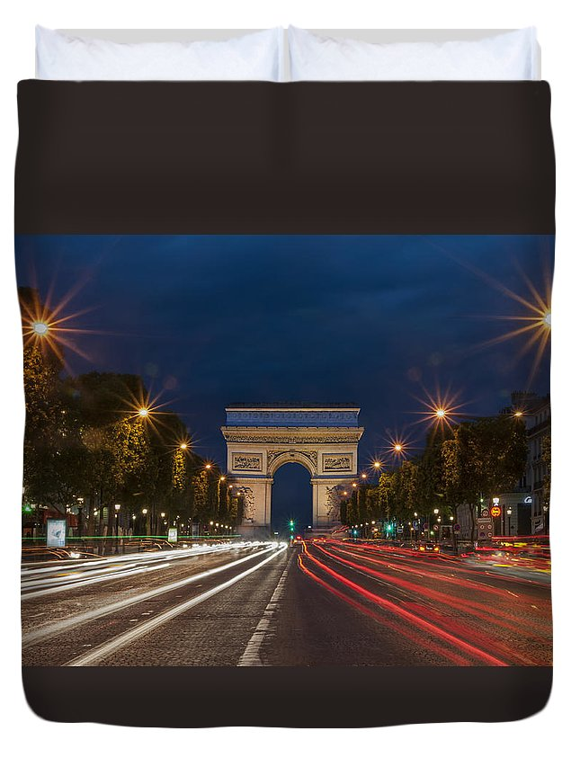 Motion Duvet Cover featuring the photograph Arch De Triomphe And Avenue Des Champs Elysees Paris France by Ayhan Altun