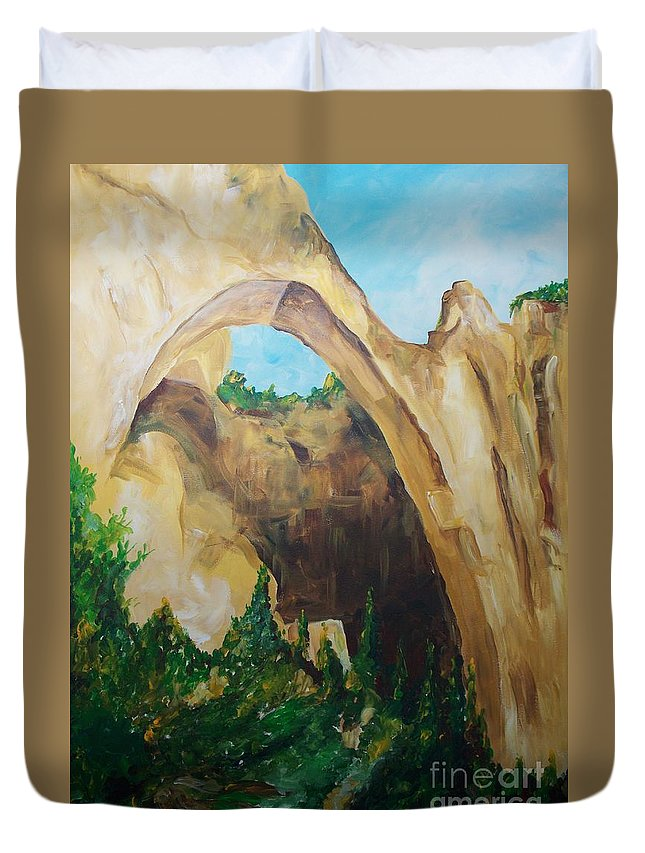 Floral Duvet Cover featuring the painting Arch by Eric Schiabor